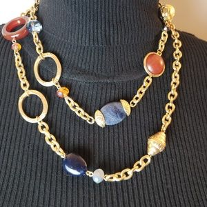 NWT CHICO's multi-color w/gold long necklace